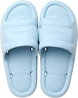 Bath Slipper Slides for Women and Mens, Bathroom Pool Non-Slip Quick Drying Shoes, Open Toe House Slippers,Blue,S
