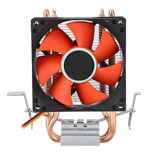 Mini Enfriador de CPU, 2 heatpipes de Alto Flujo de Aire, Ventilador de bajo Ruido, radiador con trípode Ajustable multiplataforma para Intel LGA1156 / 1155/775 y para AMD FM1 / AM3 + / AM3 / AM2 + /