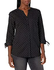 STYLE - feminine button down shirt top with tie cuff 3/4 sleeves, band collar Y-necklineand curved hemline on a loose fit body. VERSATILITY - Goes great with all bottoms from pants to jeans and skirts to shorts for wherever the day may take you. LENG...