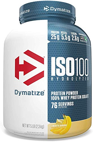 Dymatize ISO 100 Whey Protein Powder with 25g Hydrolyzed 100 Whey Isolate Gluten Free Fast Digesting,Smooth Banana, 80 Ounce