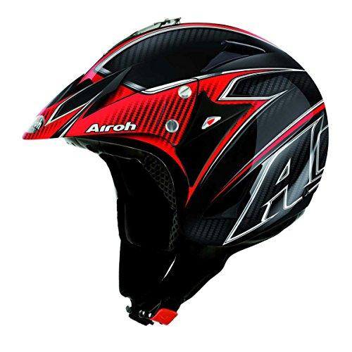 Airoh Motorrad Helm Evergreen, Schwarz/Rot, 54 cm