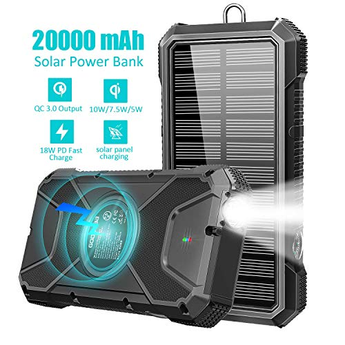 Solar Power Bank - Fast Qi Charger 20000mAh,18W QC3.0 External Battery,10W/7.5W/5W Wireless Charging with 4 Outputs & Dual Inputs,Flashlight,Compass,PD Type C for Laptop,for iOS/Android Phone Charge