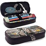 Estuche de lápices de cuero PU con cremallera, Origami Cat con estuche marcador de almacenamiento de gran capacidad, sostenedor de bolígrafo, bolsa de maquillaje cosmético