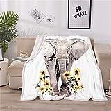 LOVINSUNSHINE Super Soft Elephant Blanket Sunflower Elephant Blanket Sherpa Throw Fleece Blanket Elephant Gifts for Teens Girls Elephant Blankets for Women 50' X 60' -