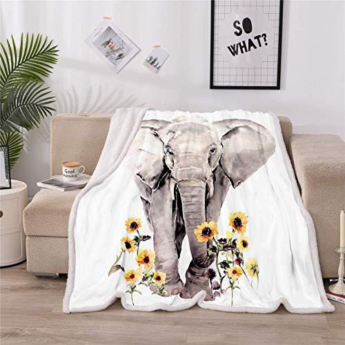 """LOVINSUNSHINE Super Soft Elephant Blanket Sunflower Elephant Blanket Sherpa Throw Fleece Blanket Elephant Gifts for Teens Girls Elephant Blankets for Women 50"""" X 60"""" -"""