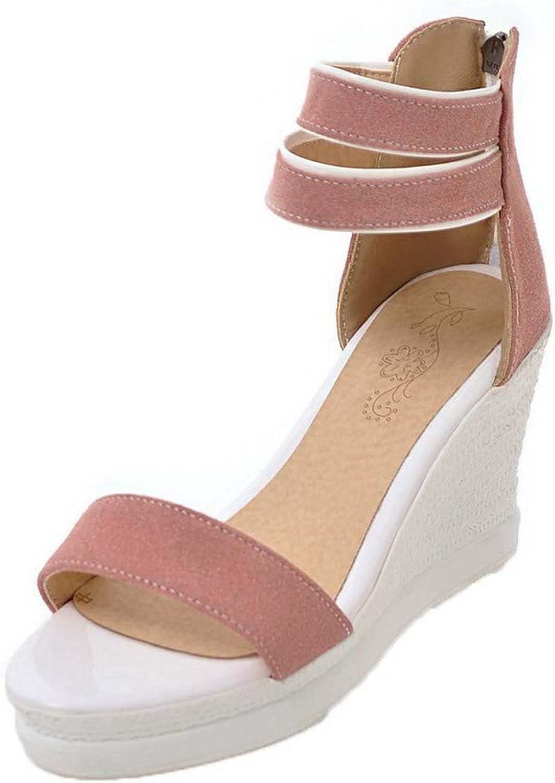 AmoonyFashion Women's Frosted Solid Zipper Open-Toe High-Heels Sandals, BUTLT007554