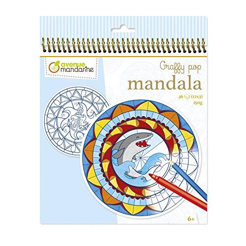 AVENUE MANDARINE - Carnet de Coloriage Mandala Enfant - 36 Mandalas Pré-découpées (12 designs x3) sur Thème de la Mer - Papier Clairefontaine 250g diamètre 18,5cm - A Partir de 6 Ans - GY028O Graffy Pop Mandala