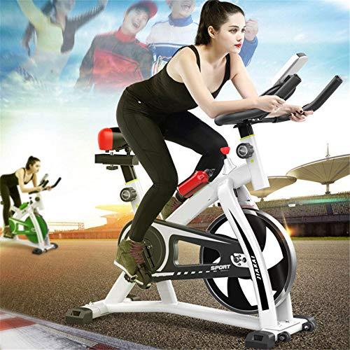 JHKGY Cyclette – Bicicletta da interni, con cintura di trasmissione per cyclette, con comodo cuscino per sedere, supporto per tablet e monitor LCD per allenamento a casa, bianco