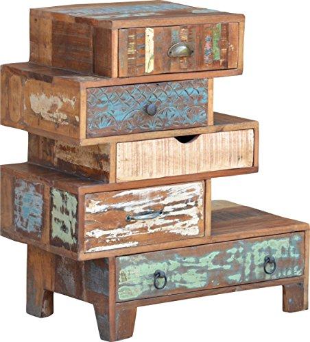 Guru-Shop Ladekast met 5 Lades in Vintage Uitvoering - Model 10, Bruin, 74x82x36 cm, Kleine Kasten