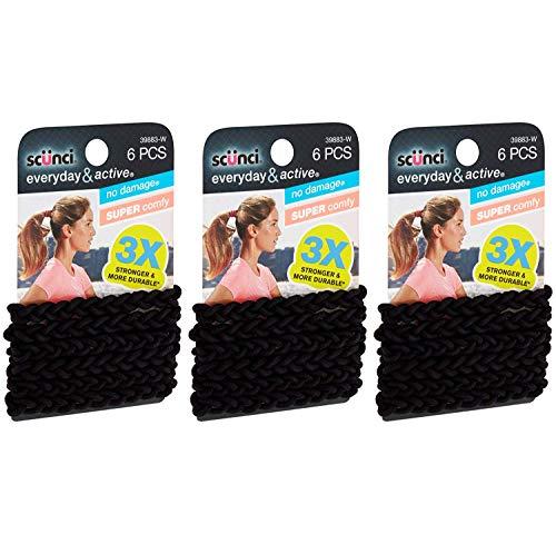 Scunci Everyday and Active Strand Elastics, Black Color, 6-Pcs per Pack, 3-Packs Total