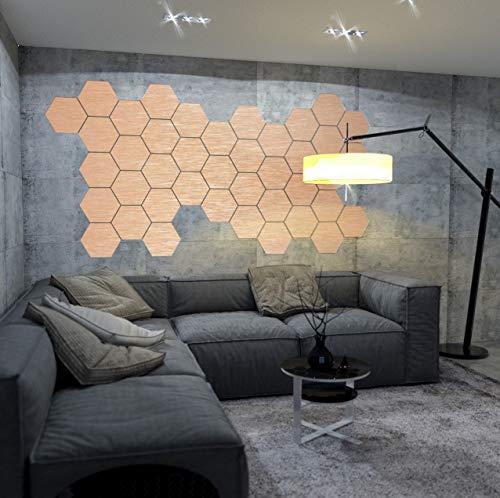 5 x Designfliese Hexagon Wanddeko Wandkunst Wandtattoo Fliesen aus 3mm Aluminiumverbund 28cm Kupfer-Gebürstet 008