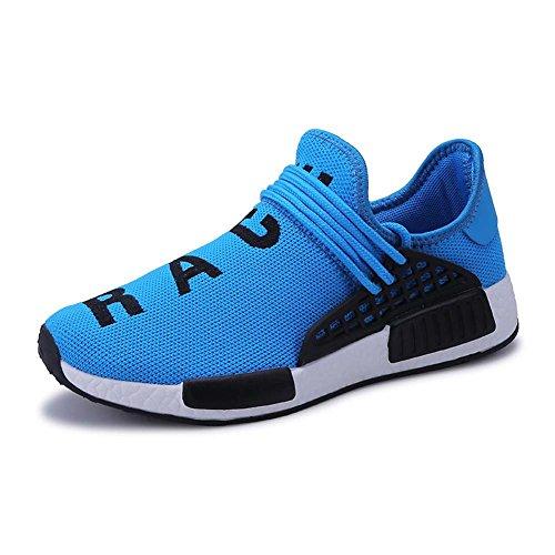 Mengxx Hommes Chaussures de Course Hommes Baskets Mode Respirant Sneakers Athlétique Maille Léger en Plein Air Occasionnel Sport Chaussures Gym Pantalon de Marche Élastique (EU 43, Bleu)