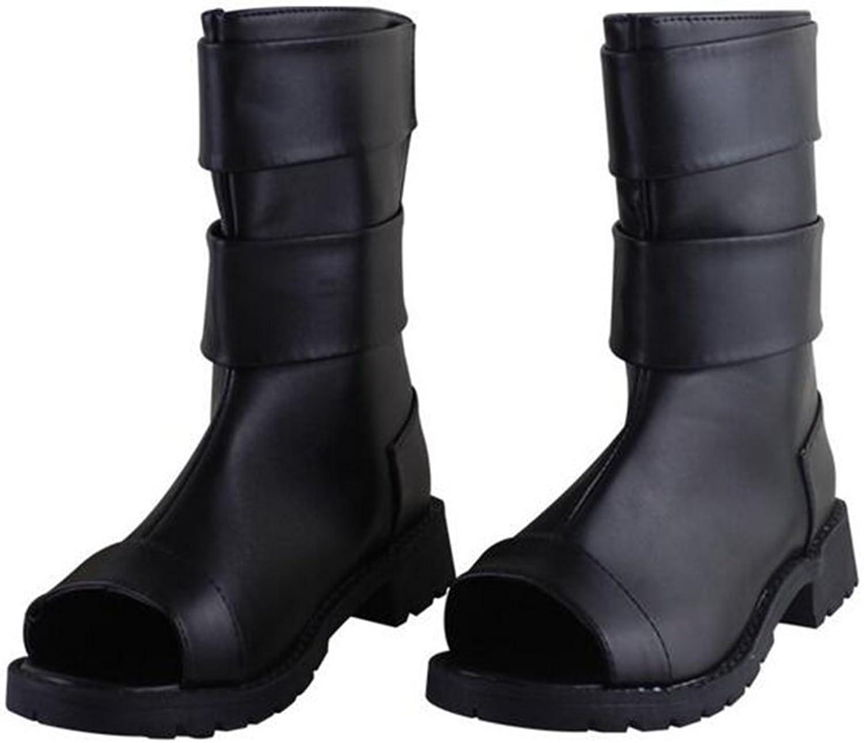 Mr.LQ Sandalen Unisex PU Offene Zehe Hinten Reiverschluss Ninja Schuhe COS Requisiten