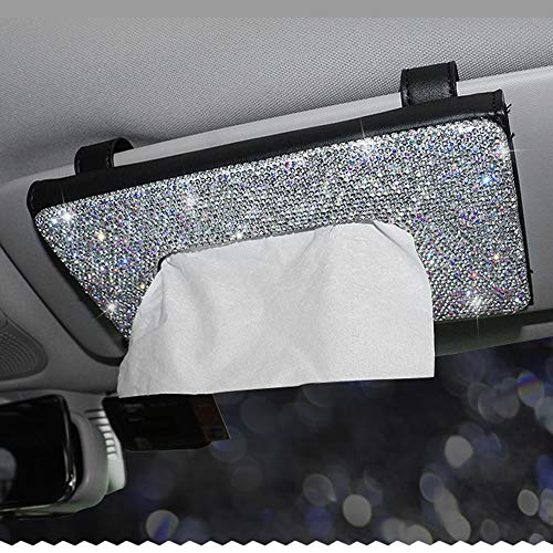 Dotesy Car Visor Tissue Holder Leather Sparkling Crystals Paper Towel Cover Case for Women