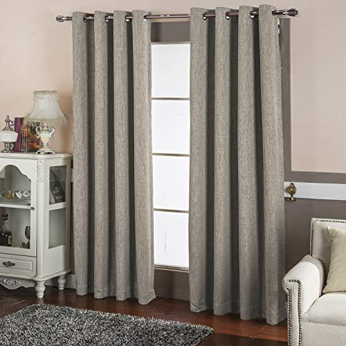 BEST DREAMCITY Room Darkening Thermal Insulated Solid Grommet Linen Look Blackout Curtains for...