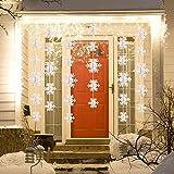 Matogle 3er hängende weiße Papier Schneeflocken 3 x 3 Meter Weihnachten 3D Girlande Schneeflocken Deko zum aufhängen, wiederverwendbar und dekorativ, für Winterparty Outdoor Neujahr Hochzeit - 5