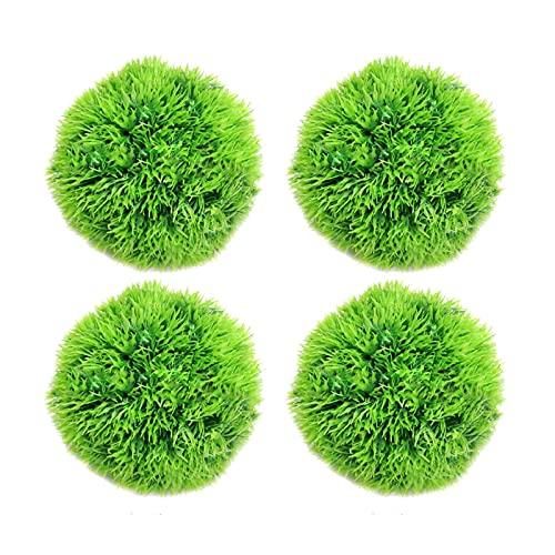 ZLSP 4 unids Natural Verde Musgo Bola decorativa, Tanque de pescado Plantas artificiales de agua verde, Acuario Bolas de marimo artificial, para decoraciones de tanques de peces Decoración para el hog