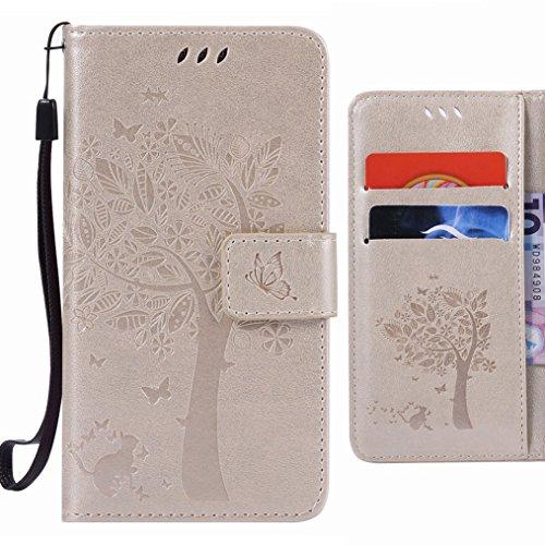Ougger Hülle für Samsung Galaxy C5 Tasche, Baum Katze Druck Beutel Brieftasche Bumper Schale Schutzhülle PU Leder Weich Magnetisch Stehen Silikon Haut Flip Case Cover mit Kartenslot (Gold)
