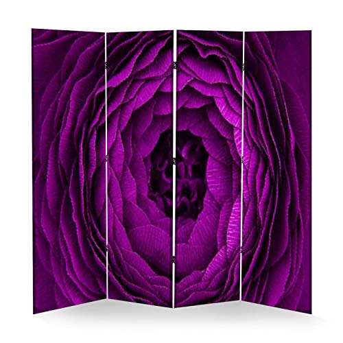 4 Panel Wall Divider Macro Shooting of Beautiful Purple Flower Background Folding Canvas Privacy Partition Screen Room Divider Sound Proof Separator Freestanding Protective Divider