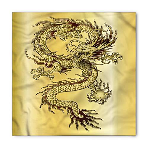Ambesonne Unisex Bandana, Dragon Chinese Eastern Myth, Gold