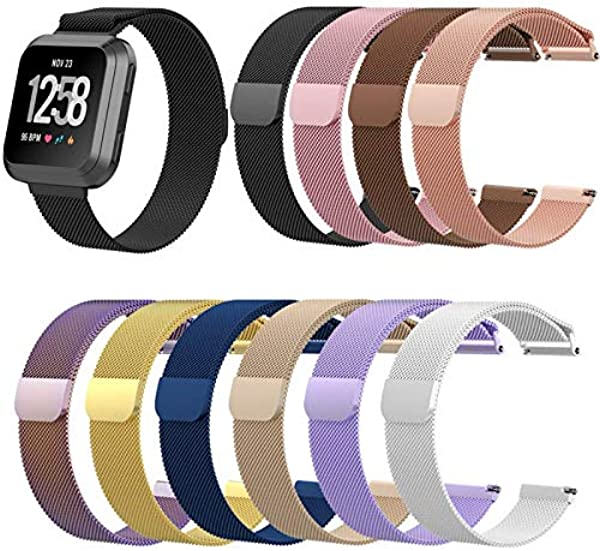 Fashion Nice Stainless Steel Magnetic Replaceable Wristwatch Band For Fitbit Versa Silver 210MM