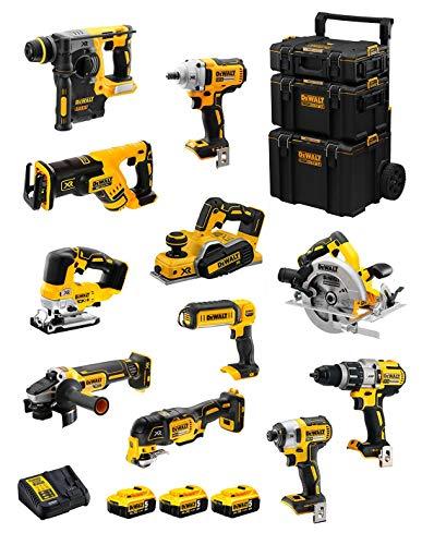 DeWALT Kit DWK1101 (DCD996 + DCH273 + DCG405 + DCF887 + DCF894 + DCS334 + DCS570 + DCS355 + DCP580 + DCS367 + DCL050 + 3 Baterías de 5,0 Ah + Cargador + Carro 3en1)
