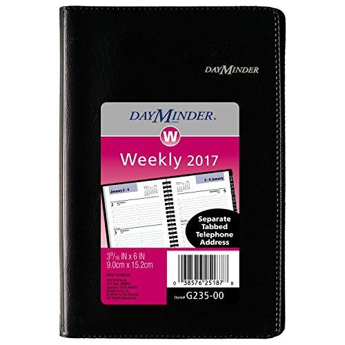 """DayMinder Weekly Pocket Appointment Book 2017, 3-3/4 x 6"""", Wirebound, Black (G235-00)"""