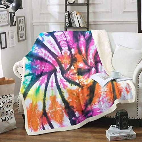 Kids Tie Dye Blanket Throw Hippie Hippy Sherpa Throw Fleece Blanket Queen Size For Girls Children Teens Trippy Tattoo Bohemian Gypsy Boho Psychedelic Plush Bed Blanket For Adult Living Room