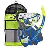 U.S. Divers Dorado II Pro Snorkel Set (Yellow/Blue). Youth Snorkel Mask, Snorkel, Fins, and Gear Bag (Small, 9-13).