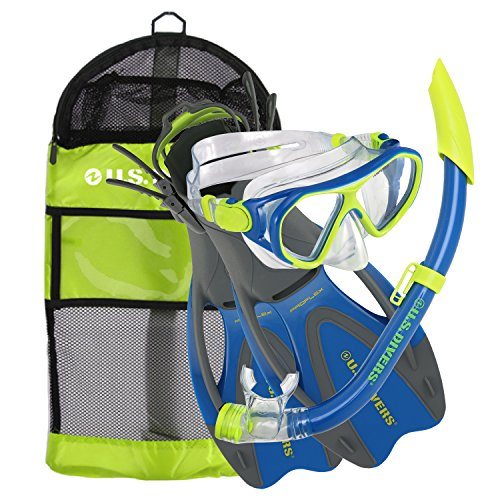 U.S. Divers Dorado Ii Pro Jr Mask, Sea Breeze Snorkel, Proflex Fins Set with Gear Bag, Yellow/Blue, Medium