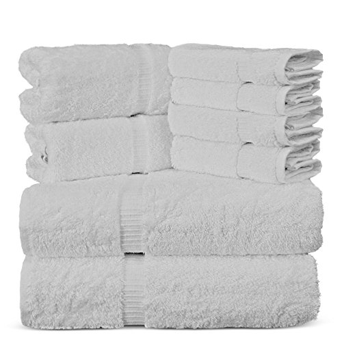 Towel Bazaar Luxury Hotel and Spa Quality Dobby Border 100% Turkish Cotton Eco-Friendly and Highly Absorbent Towel Set (Set of 8, White)