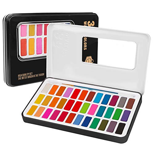 Water Color Paint Set 36 Solid Premium Colors Paints +1 Pcs Art Brushes in Box Portable Watercolor Painting Gift for Kids, Professional Adults, Beginners, Artists Painting, Sketching, and Illustrating