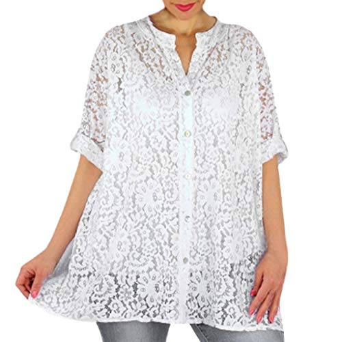 Why Choose Lovor Women's Shirts Lace Hollow Out Roll Up Sleeve Henley Neck Button Down Tops Solid Bl...