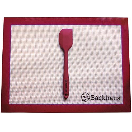 Backhaus FlexBake Tapis de Cuisson Anti-adhérent en Silicone Premium, Feuille à Pâtisserie 100% sans BPA & Spatule Maryse Offerte | Garantie 5 Ans | 40x30cm - Rouge