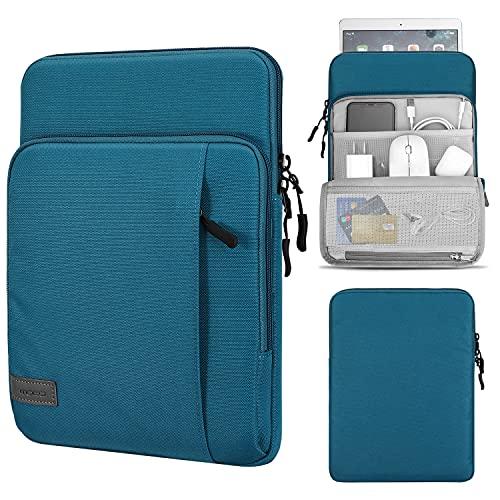 MoKo 9-11 Pulgadas Funda Compatible con iPad Air 4ª 10.9, iPad 8ª 10.2/ Pro 11 2021/2020/2018 con Bolsillos Almacenamiento, Bolsa de PU Cuero Suave Hebilla para iPad 10.2/ Pro 10.5 - Pavo Real Azul