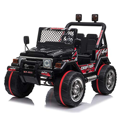 VALUE BOX Kids Ride On Truck 2.4G Remote Control, Children Electric Ride-on Jeep Cars Toy Car 12V Battery Motorized Vehicles Age 3-8 w/ 3 Speeds, LED Lights,Horn, Music Player, Safe Seat Belts(Black)