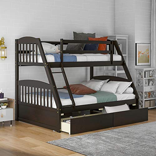 Merax Solid Wood Twin Over Full Bunk Bed with Two Storage Drawers (Espresso)
