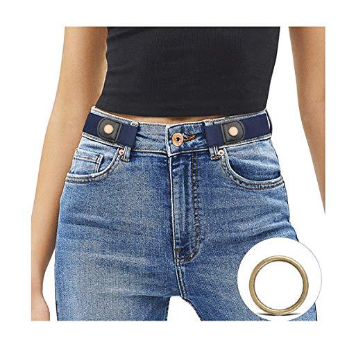 JasGood Schnallenfreier Damen Stretch Elastischer Gürtel für Damen Herren, Plus Size Keine Schnalle Unsichtbarer Gürtel für Jeans Hosen, Blau, Hosengröße 86cm-125cm
