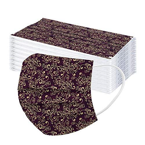 QIUMINGSS 50 Stück Community Mundschutz und Nasenschutz für Frauen Männer Baumwolle mit motiv mundnasenschutz G09