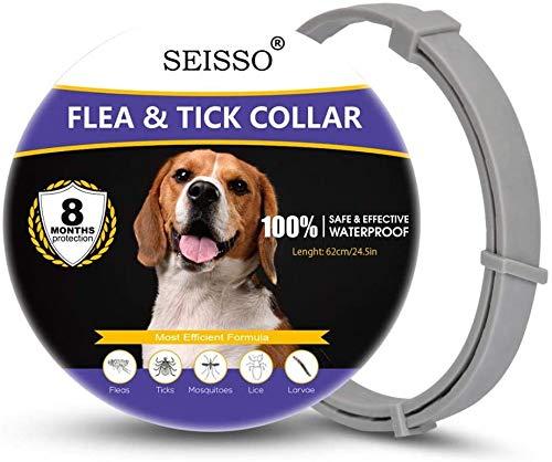 Seisso Collar Antiparasitos para Perro,Gato Pequeño Mediano Grandes contra Pulgas, Garrapatas y Mosquitos, 8 Meses