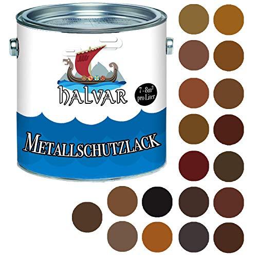 Halvar - Barniz protector para metal, color marrón brillante RAL 8000-8028, pintura de metal especialmente resistente a la intemperie y protección perfecta a largo plazo para metal, Marrón