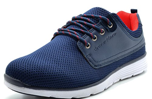 BRUNO MARC DP118-M New Men's Fashion Comfortable Breathable Mesh Light Weight Lace Up Fashion Sneakers Shoes NAVY-RED-SZ-8
