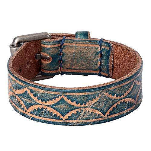 Daesar Pulsera Hombre,Pulsera Hebilla de Cinturón Vintage Ancho 20MM Longitud 24CM Pulsera Cuero Hombre Azul