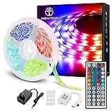 WenTop LED Streifen Ultralang 10m RGB LED Strip SMD 5050 Leds mit Fernbedienung, Netzteil, für zu Hause, Schlafzimmer, TV, Festival, Beleuchtung und Partydekoration