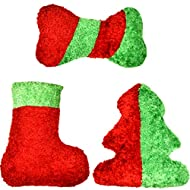 Gift Boutique Christmas Squeakie Dog Toys Stuffed Plush Dog Toy Set of 3 - Red and Green Stocking Christmas Tree Bone Puppy Dog Squeaker