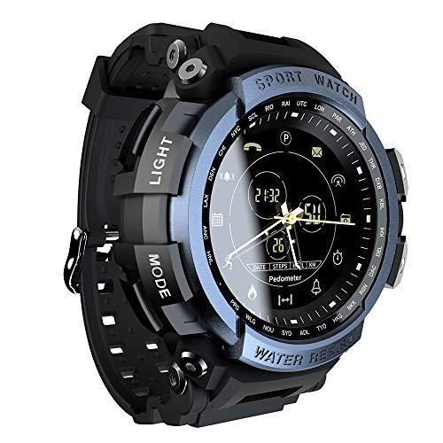 LICHUXIN Bluetooth Smart-Sportuhr, Pedometer fordert Remote-Kamera und Alarminformationen und Tipps im Freien Wasserdichten Uhr, Unterstützung zu erinnern, Unisex,B
