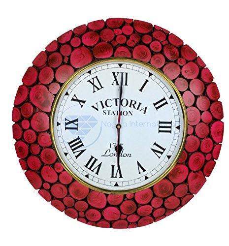 Nagina International Horloge Murale décorative en Bois avec bûches tranchantes, contemporaine et colorée | Décorations murales Haut de Gamme (navet Rouge)