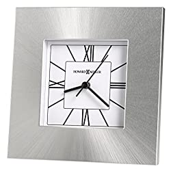 Howard Miller Kendal Table Clock 645-749 – Silver Square Aluminum Home Decor with Quartz Movement