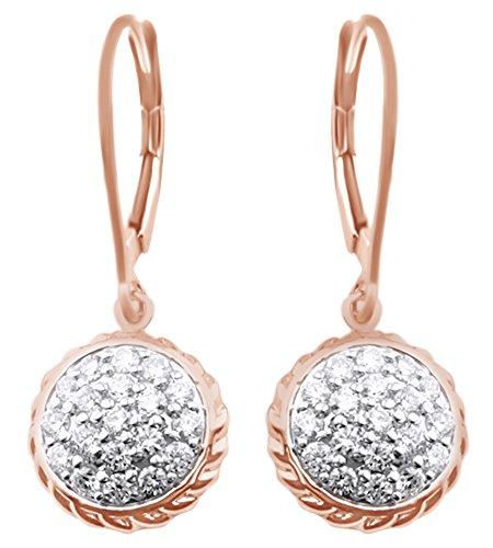 AFFY Unisex Damen Herren Kinder -  Gold 14 Karat (585)  14 Karat Rotgold Rundschliff    Weißer Diamant