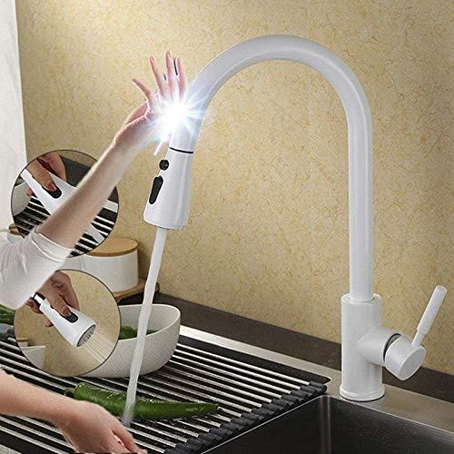 Grifos de cocina Touch Grifo de cocina negro extraíble Grifo de control táctil inteligente Grifo de cocina Sensor de extracción Grifos de cocina-1270-B-Blanco-táctil